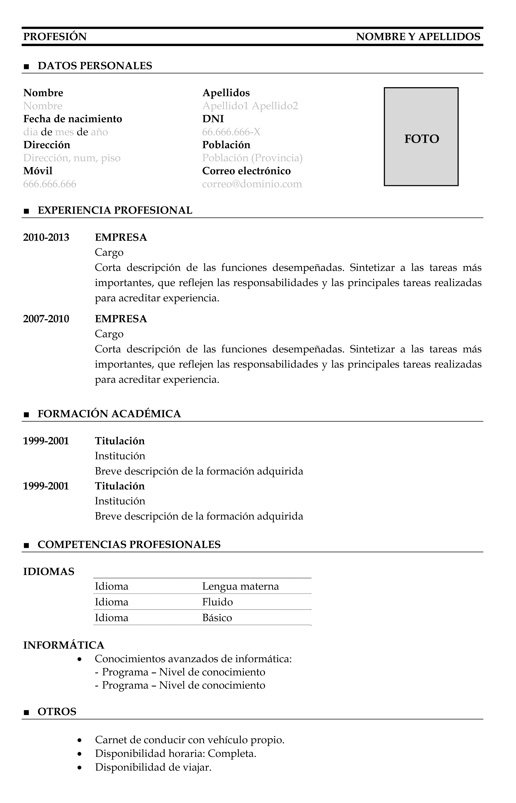 Formato Curriculum Vitae Para Personas Sin Experiencia Laboral