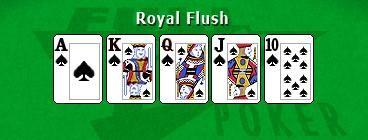 Poker escalera en mesa
